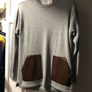 Jcrew Sweater with Faux Leather Pockets